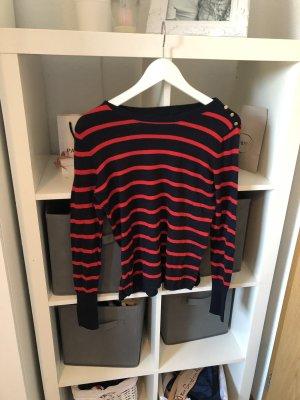 Blau Rot gestreifter langarm Pullover