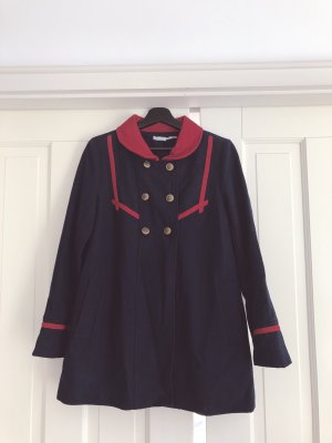 Urban Outfitters Heavy Pea Coat dark blue-red