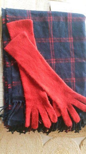 Blau roter großer Schal und Handschuhe