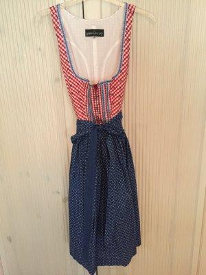 Blau-rotes Baumwoll-Dirndl mit Reißverschluss