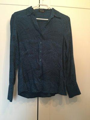 Blau Schwarz gepunktete Bluse