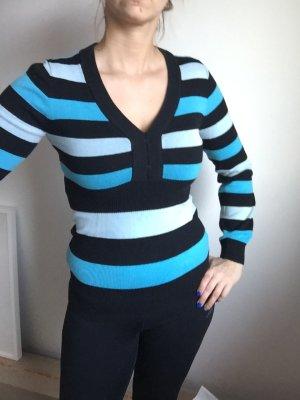 Blau schwarz gestreifert Pullover mit toller Tailie