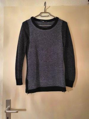 Blau schwarz weiß melierter Pullover