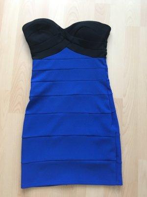 Blau/schwarzes Bandeaukleid