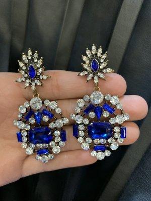 Statement oorbellen zilver-blauw