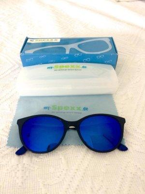 Blau verspiegelte Sonnenbrille mit blauem Rand