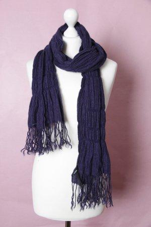 Blau-violetter Schal mit Fransen und Raffungen von Comma NEU #Comma