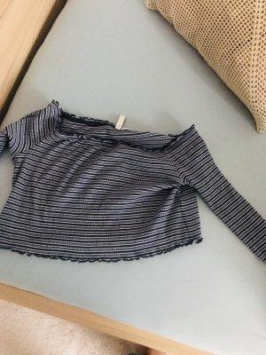 H&M Eénschoudershirt wit-donkerblauw