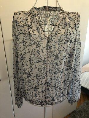 Esprit Blusa de túnica blanco-azul oscuro
