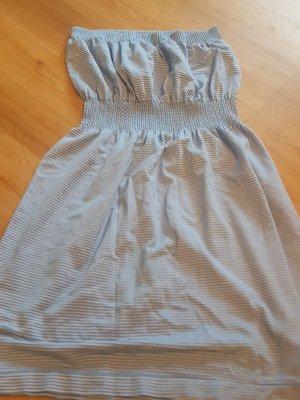 Vestido strapless blanco-azul celeste