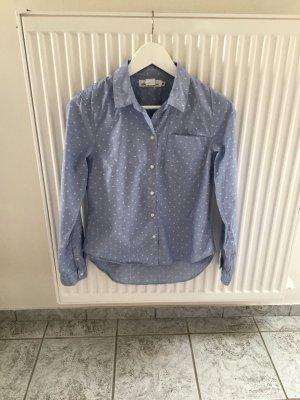Blau - Weiß gepunktete Bluse