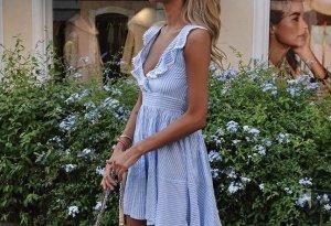 Blau/Weiß gesteiftes Sommer Kleid zum binden