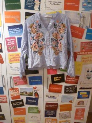 Blau weiß gestreifte Bluse mit Stickerei von ZARA, L, 40, Boho, Hippie, Blogger, Cropped, Embroidery