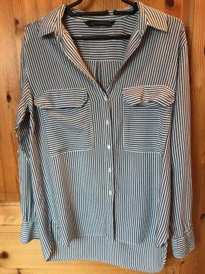 Blau-weiß gestreifte Bluse von Zara in Größe M