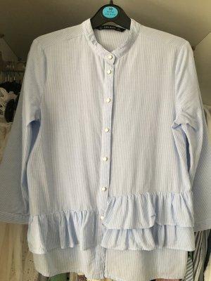 Blau/weiß gestreifte Bluse von Zara in XS