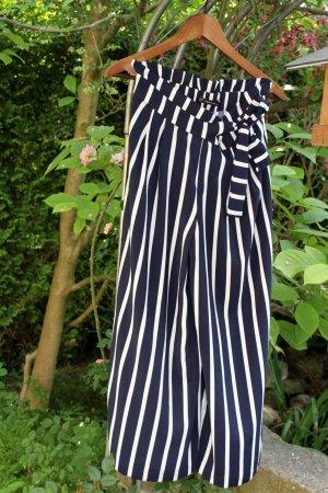 Zara Trafaluc Pantalone culotte bianco-blu scuro Poliestere