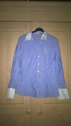 blau/weiß gestreifte Hemd-Bluse