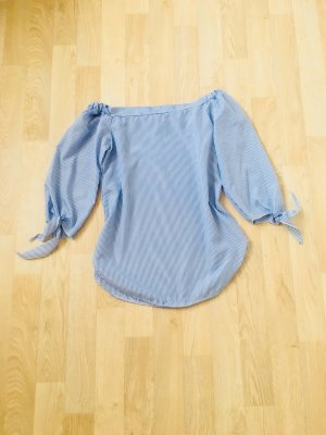 Blau weiß gestreifte Offshoulder Bluse
