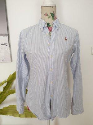 Blau-weiß gestreifte Ralph Lauren Slim Fit Hemdbluse Oxford