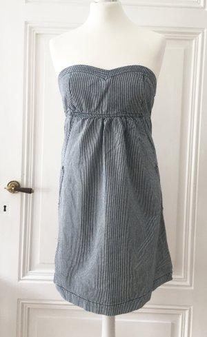 Blau-weiß gestreiftes Bandeau-Kleid NEU