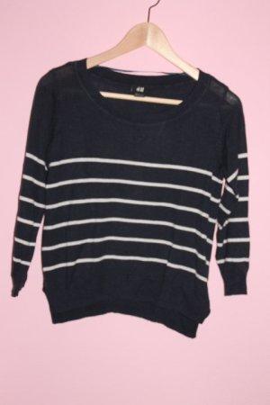 Blau-weiß gestreiftes Crop Sweatshirt