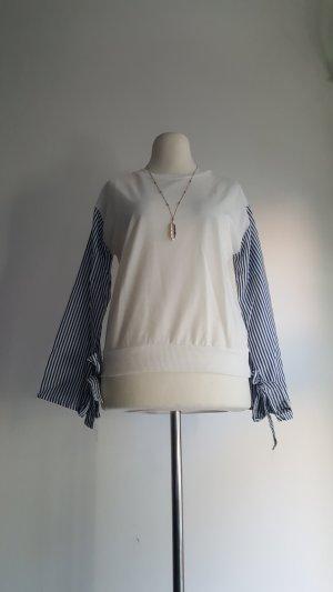 Gestreept shirt wit-azuur Polyester