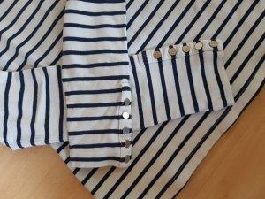 H&M Sweatshirt wit-staalblauw Katoen