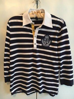 Blau/weiß gestreiftes Poloshirt von RALPH LAUREN mit Emblem