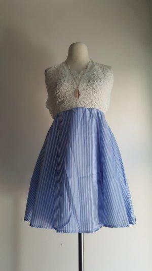 Kanten jurk wit-azuur Gemengd weefsel