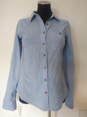 blau-weiß karierte Bluse