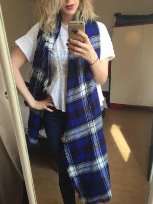 Blau weiß karierter XXL Schal von Zara