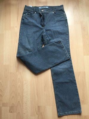 Pantalone a zampa d'elefante blu-bianco