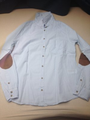 Blau weiße Bluse von h&m mit braunen Ellenbogen