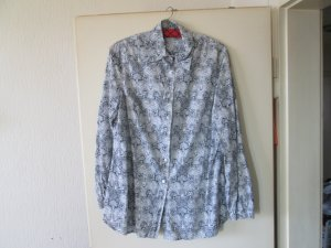 blau / weiße Langarm-Bluse