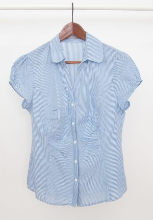 3 Suisses Short Sleeved Blouse white-steel blue cotton