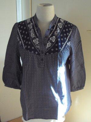 H&M Tunic Blouse dark blue-white