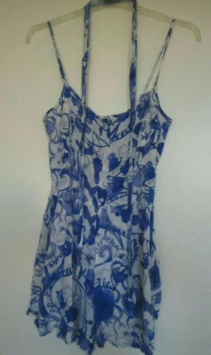 blau-weißer H&M Jumpsuit mit Band in der Taille