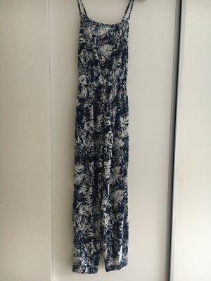 blau- weisser Overall Playsuit Jumpsuit Spaghettiträger millefleur Blumen Blumendruck 36 38 luftiger Stoff für die Party und Sommernacht