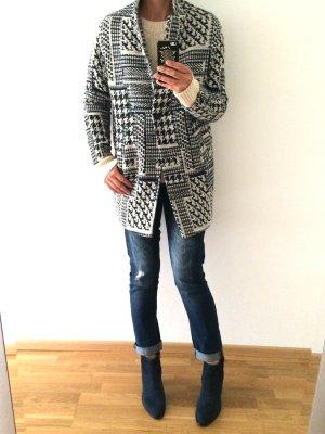 Blau-weißer Oversize-Mantel von Zara