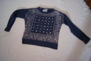 blau/weißer oversized Pullover