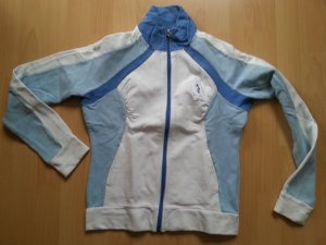 Blau-weißer Pulli mit Zipper vorne und Billabong Motiv auf dem Rücken