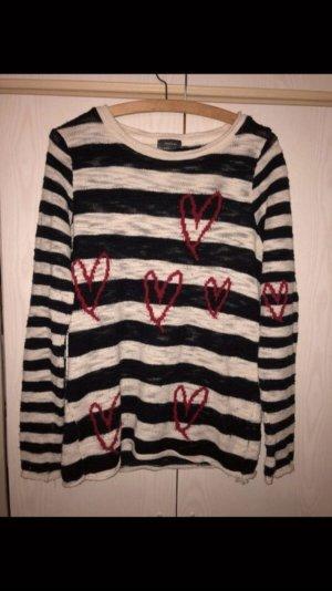 Blau-weißer Streifenpullover mit Herzprint Herzen Pulli Sweater Marinepullover Sweater