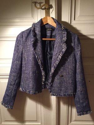 Blau-weißer stylischer Blazer in Chanel Style von Zara
