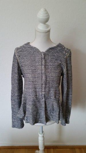 Blau weißer Zara Trafaluc Blazer im Tweed-Look mit Nieten an den Schultern.