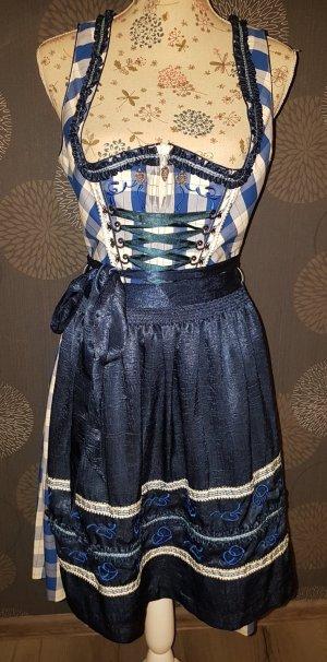 Spieht & Wensky Vestido Dirndl blanco-azul oscuro