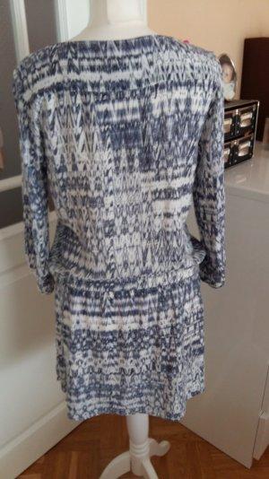 blau-weißes Minikleid mit elastischem Taillenbund