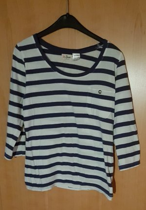 John Baner Gestreept shirt wit-staalblauw Katoen