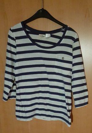 John Baner Stripe Shirt white-steel blue cotton
