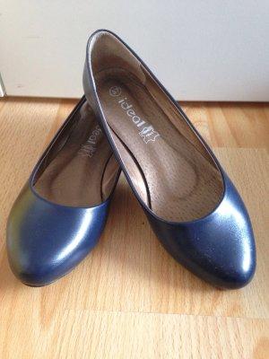 Blaue Ballerinas aus Leder