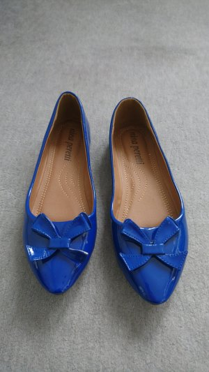 Patent Leather Ballerinas blue synthetic